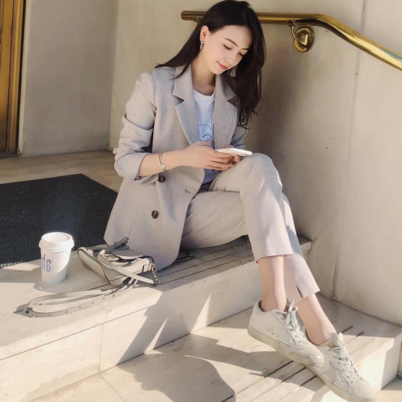 Fashion Women Blazer Suits Notch-neck Blazer Jacket & Elastic Waist Pants Office Wear Women Pant Suits 2019 Female 2 Pieces Set