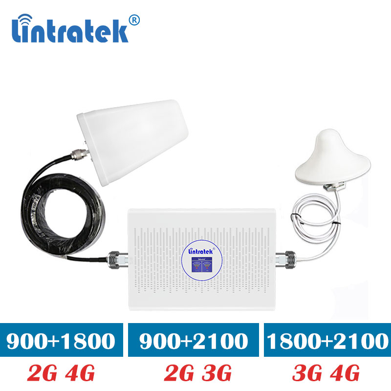 Lintratek Dual Band 3g 4g  1800 2100 70dB Gain GSM 900mhz 1800mhz Umts 3g Signal Cell Phone Booster Repeater Mobile Amplifier Dk