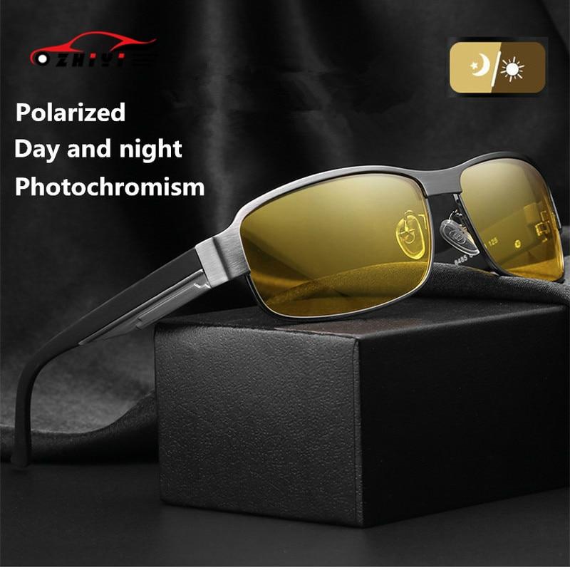 ZHIYI Brand Night Vision Goggles Day And Night Driving Glasses Men Vintage Aluminum Polarized Photochromic Sunglasses UV400