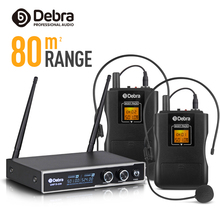 цена на Good sound!!!Debra Audio D-220 2 Channel 80m Range with Lavalier& Headset Mic UHF Wireless Microphone System for karaoke