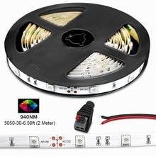 Ruban LED infrarouge SMD5050, 850nm 940nm, Flexible, ampoules LED, 30 diodes par mètre, ruban adhésif avec fond blanc