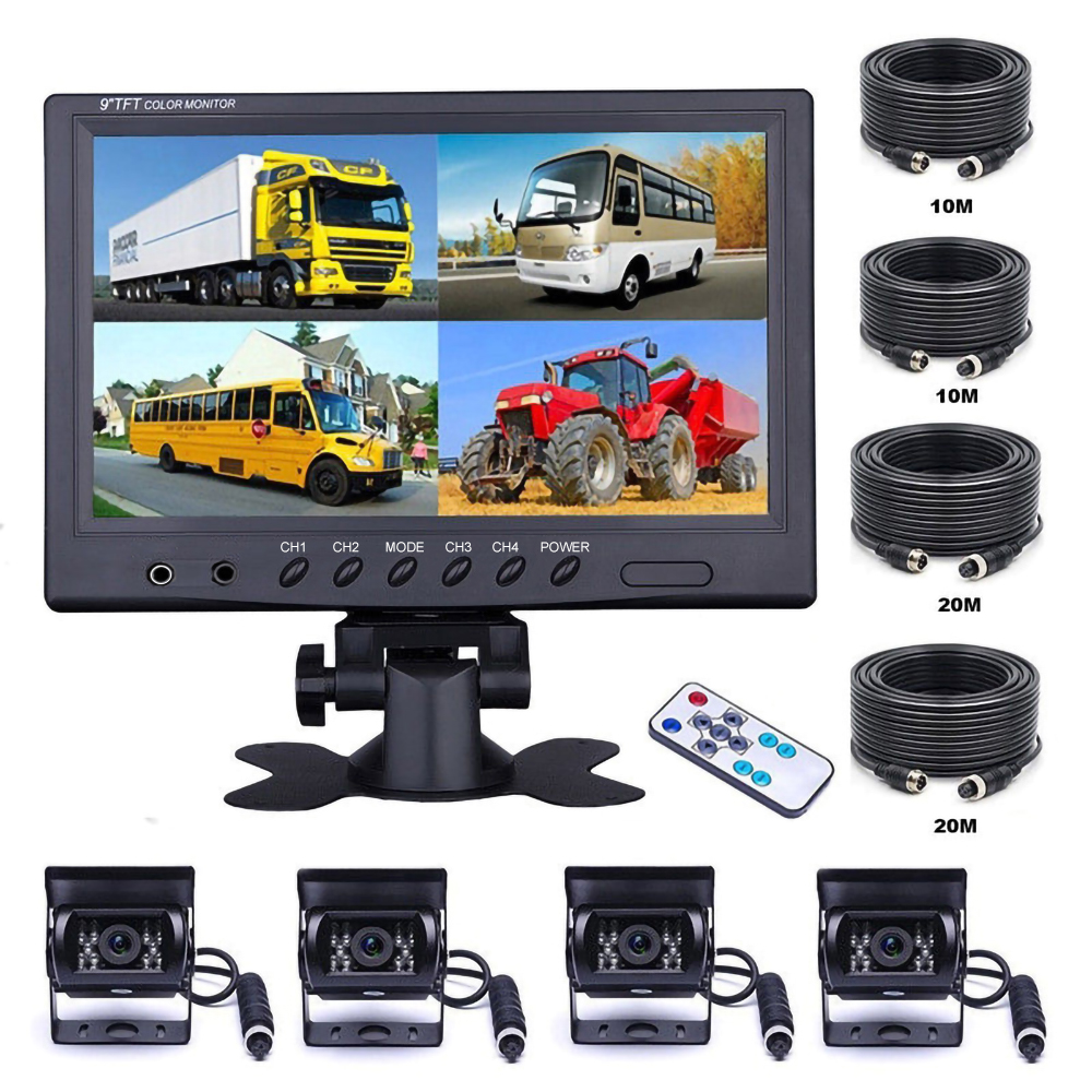 Podofo Vehicle Car Rear View 9inch LCD Monitor 4CH Quad Split Screen 4Pin for Bus Truck Caravan Van Motorhome Camper Parking Camera