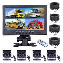 "Podofo Vehicle Car Rear View 9"" LCD Monitor 4CH Quad Split Screen 4Pin for Bus Truck Caravan Van Motorhome Camper Parking Camera"