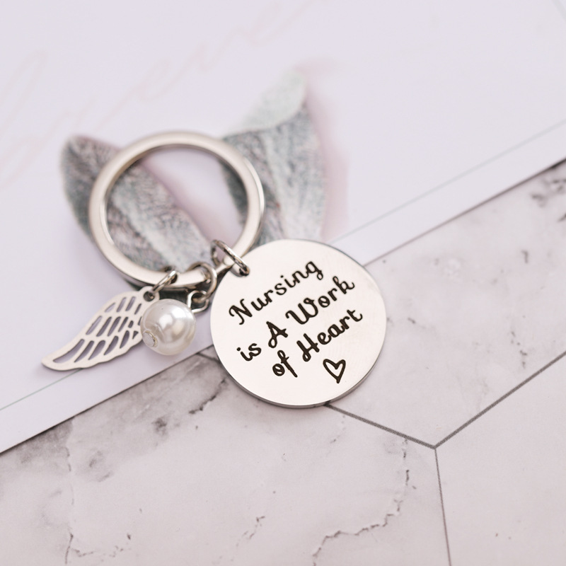 Nursing Is A Work Of Heart Keychain Pearl Wing Ornament Fashion Personality Women Jewelry Gift For Friends Women Girl