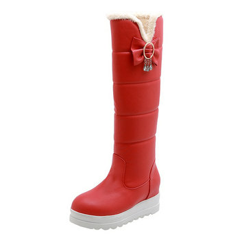 Waterproof Thick Fur Warm Boots Lady New knee high Snow Boots Women Shoes heihgt increasing Wedges Platform Winter Boots