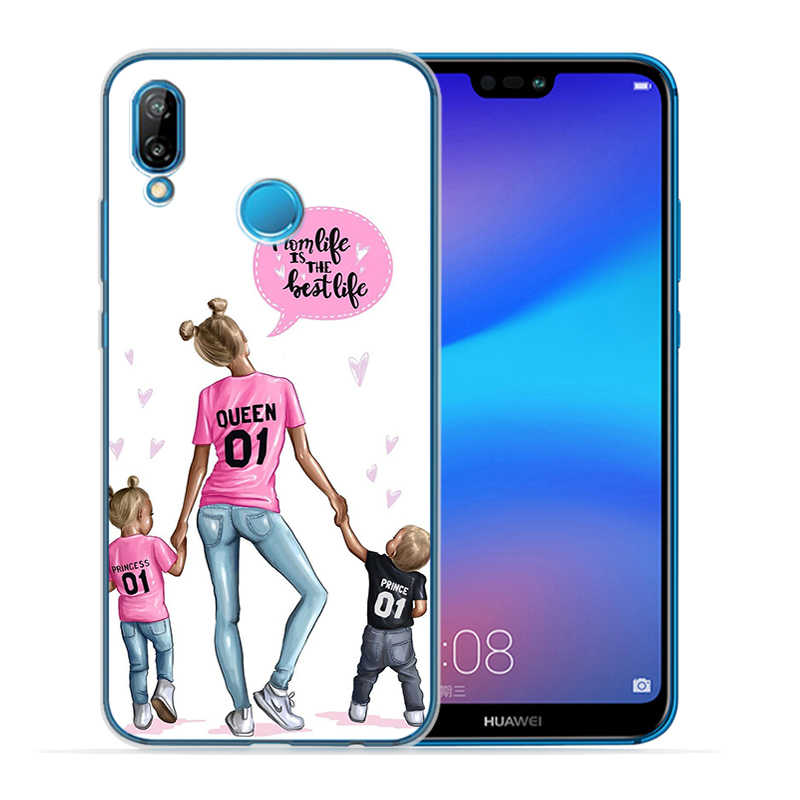 Brązowe włosy dziecko mama dziewczyna królowa przypadki przypadku telefonu dla Huawei P8 P9 P10 P20 P30 Lite Plus Pro P inteligentny Y5 Y6 Y7Prime Nova 3 3i