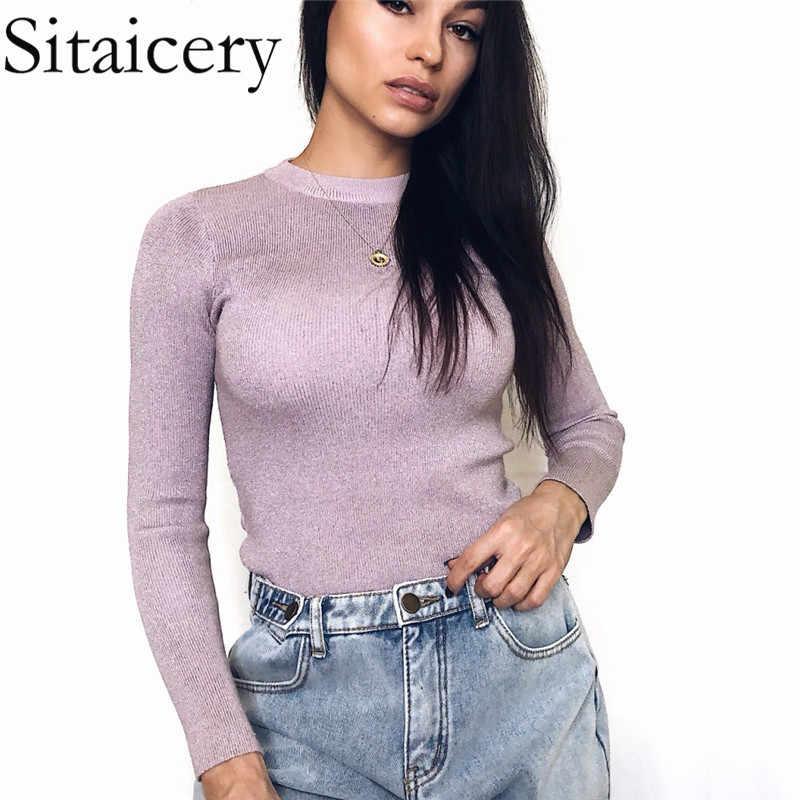 Sitaicery 새로운 2020 봄 슬림 하프 넥 스웨터 여성 밝은 실크 니트 스웨터 긴 소매 Bottoming 스웨터 점퍼 여성