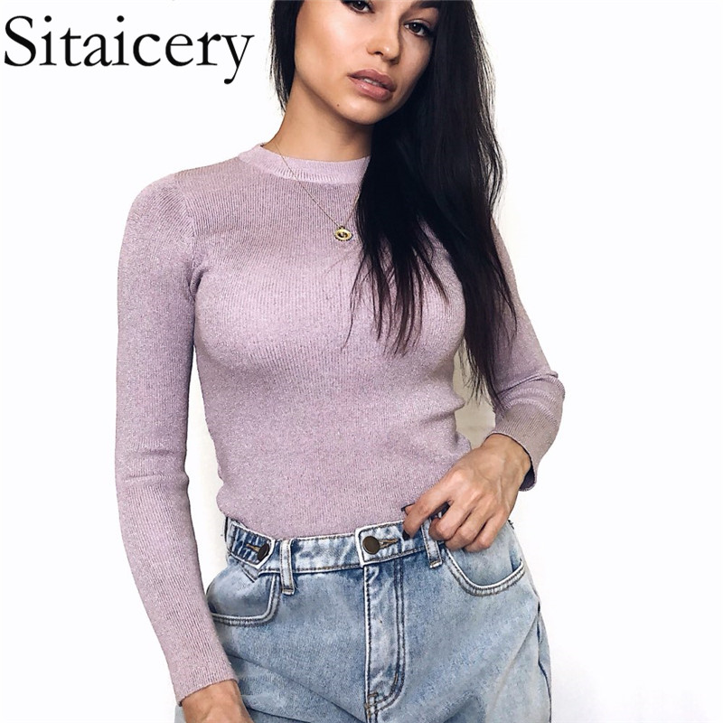 Sitaicery Bright Sweater Autumn Women Long Sleeve Pullover Women Basic Tops Women Sweaters 2019 Winter Christmas Pullover Pull