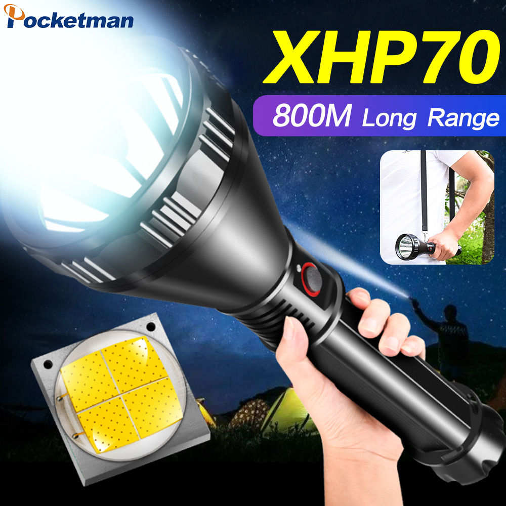 XHP70.2 LED Torch 800m Wide-angle Long-range Flashlight Rechargeable Waterproof Lantern Uses 26650 Battery For Camping Adventure