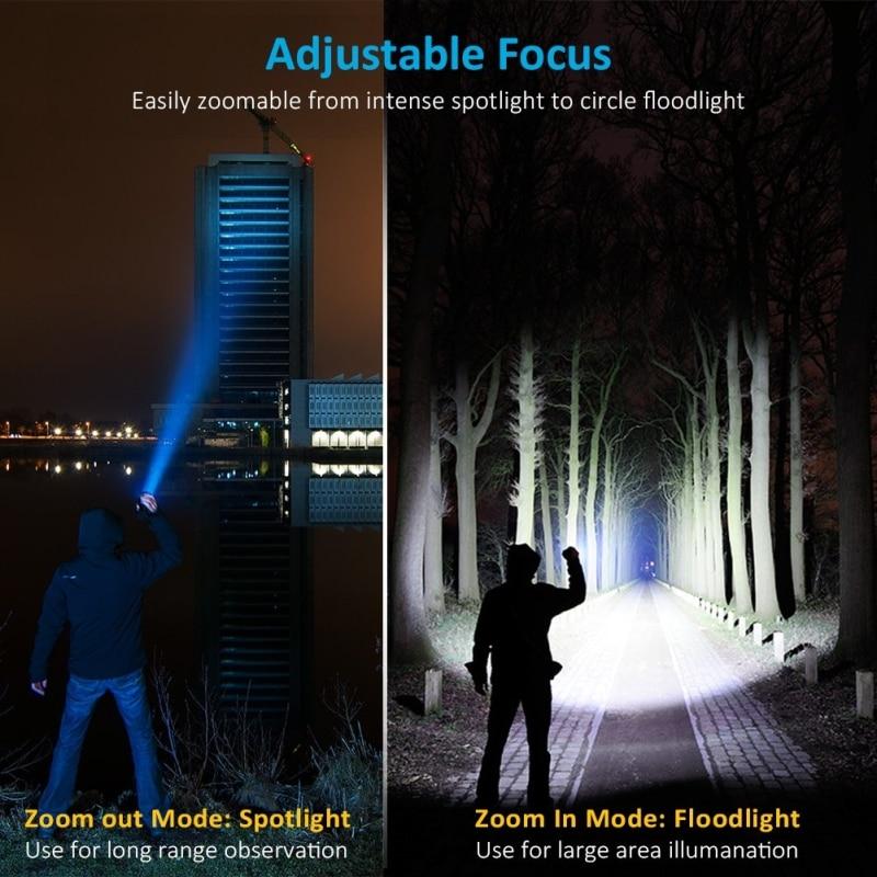 Highest lumen Most Powerful XHP90 long-range Flashlight LED Tactical Zoom XHP70.2 LED Torch light Use 26650 Large  battery