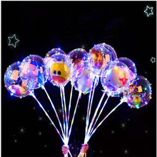 5 Pcs Christmas cartoon wave ball transparent balloon LED light with rod filled air handheld net red gas charm god batch