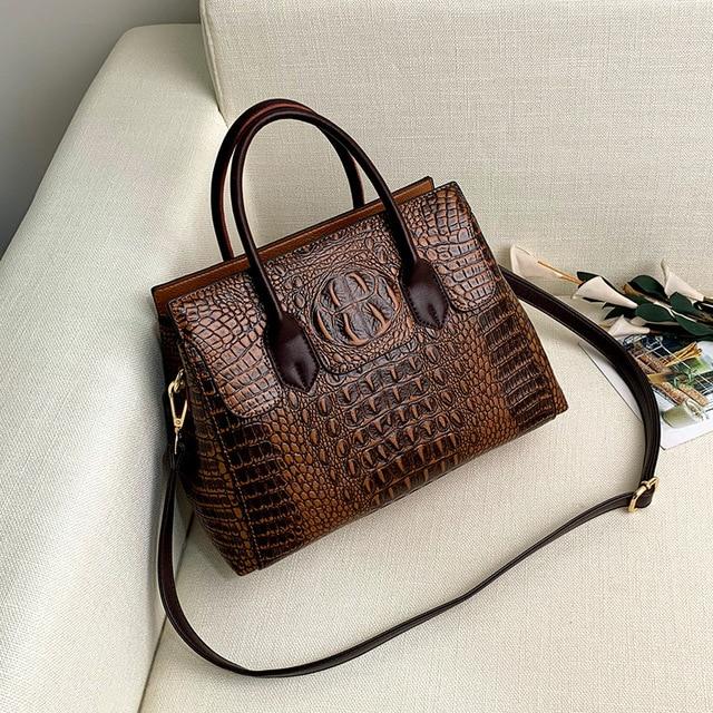 Bolsa feminina de couro genuíno bolsas de crocodilo bolsas de luxo bolsas femininas designer crossbody sacos feminino retro tote bolsas 4