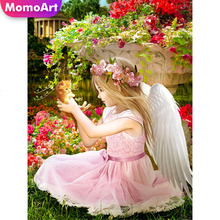 MomoArt 5D Diamond Painting Girl Full Drill Square DIY Diamond Embroidery Flowers Cross Stitch Home Decoration Gift momoart 5d full drill square diamond painting flowers diy diamond embroidery daisy cross stitch home decoration gift