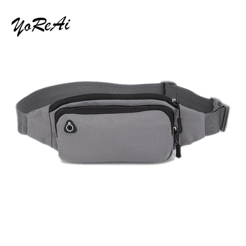YoReAi Solid Pockets Belt Bag Business Camouflage Waist Packs Anti Theft Portable Men Women Waist Bag With Earphone Hole Belt