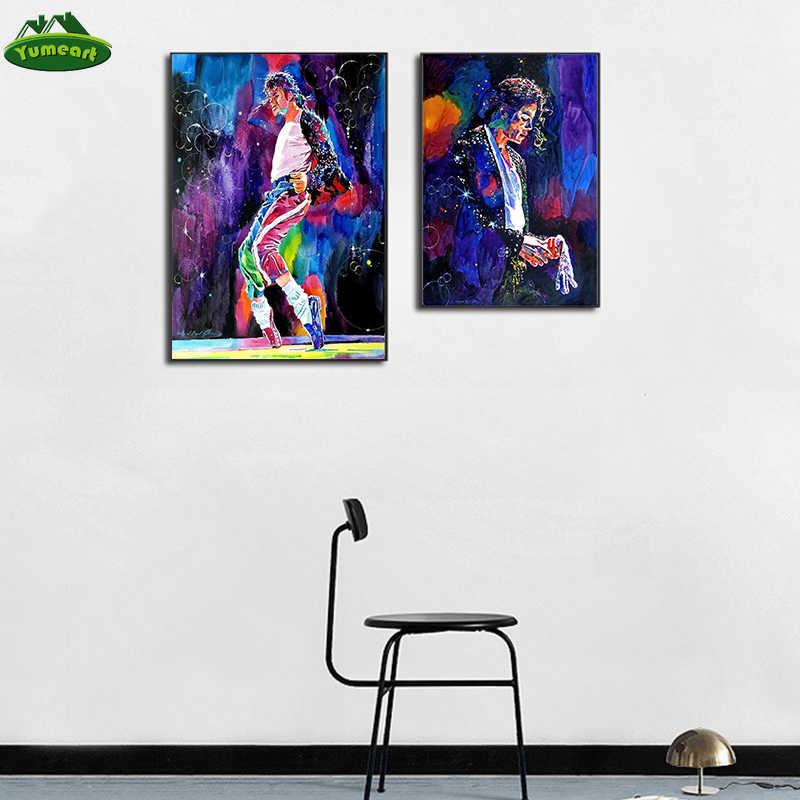 Super Estrella Michael Jackson pintura al óleo en lienzo impresión cantante retrato óleo pinturas sala de estar moda hogar Decoración