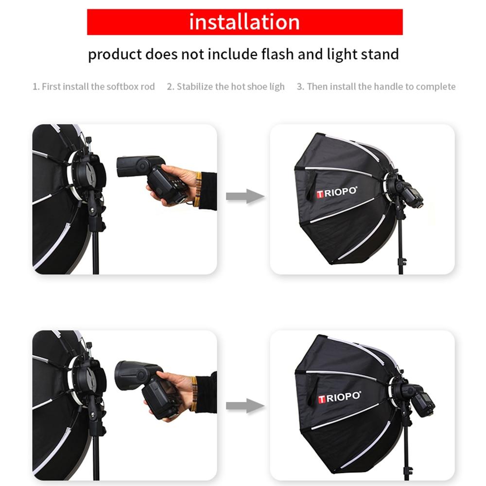 cheapest TRIOPO 65cm KX65cm Octagon Umbrella Softbox Soft box for Godox AD200 V1 yongnuo YN200 Flash Light photography studio accessories