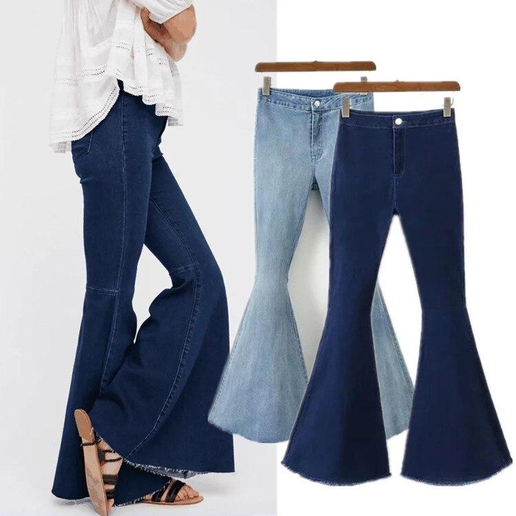 Elastic Jeans Flare-Pants Button Tassel Denim Trousers Ripped Streetwear Vintage Autumn