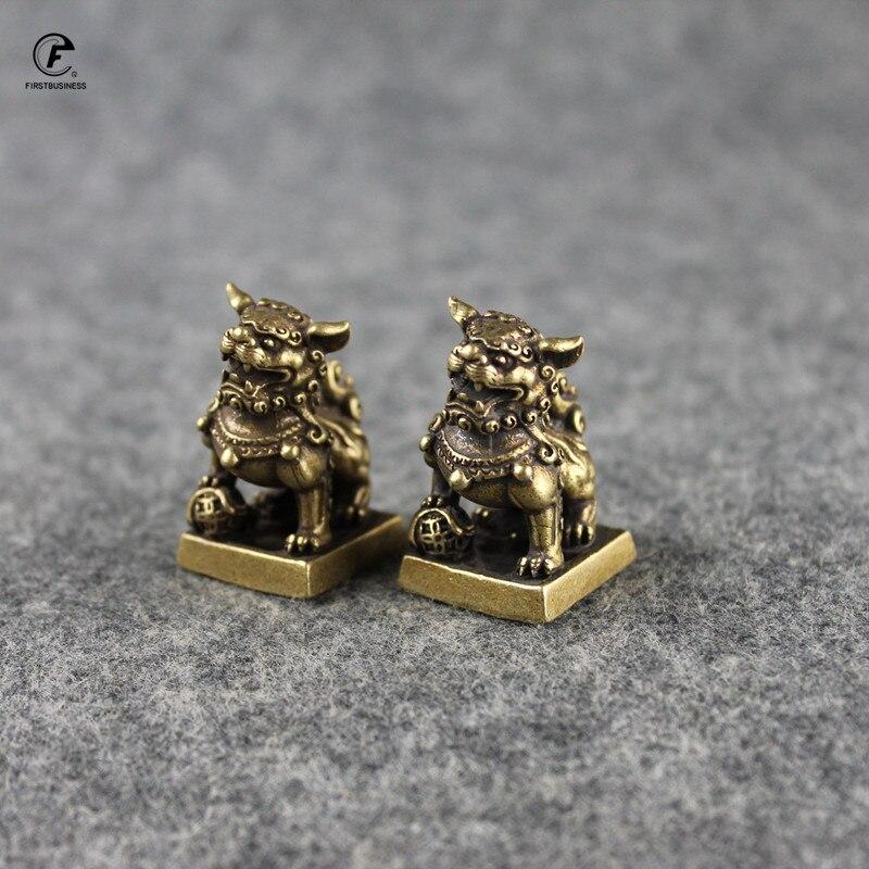 Brand Antique Bronze Lions Seal Desktop Ornaments Copper Animal Miniature Figurine Lucky Brass Lion Statue Feng Shui Decoration