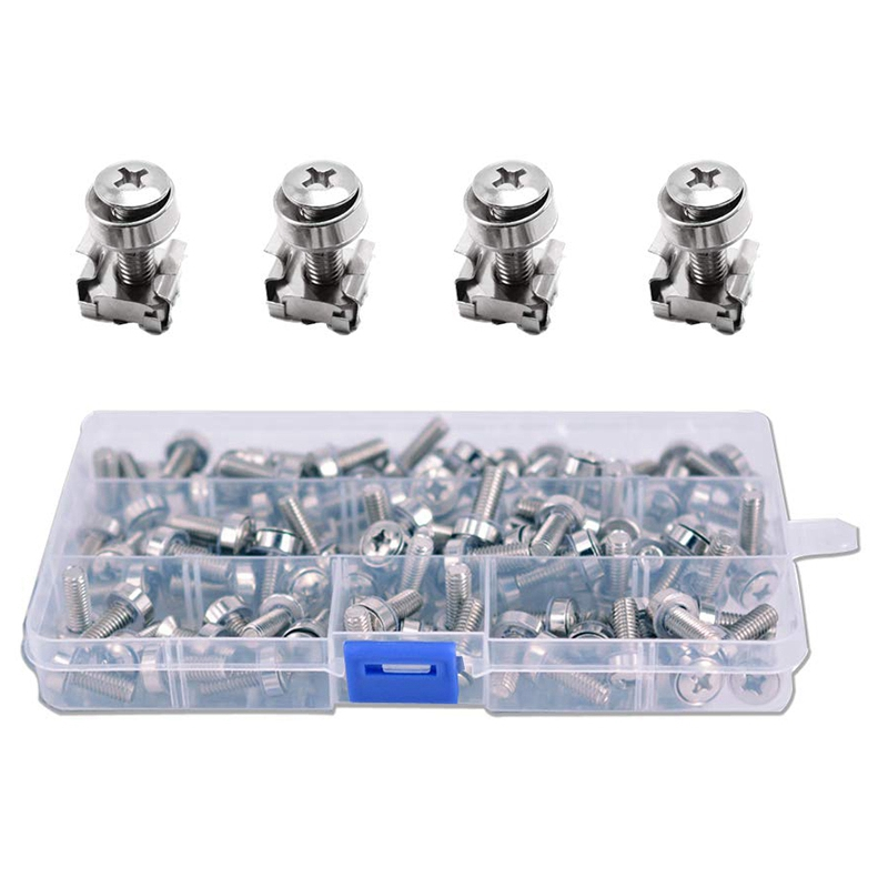 50 Sets M6 Square Hole Hardware Cage Nuts&Mounting Screws Washers for Server Rack and Cabinet(M6 X 20Mm)(Screw+Washer+Cage Nut)