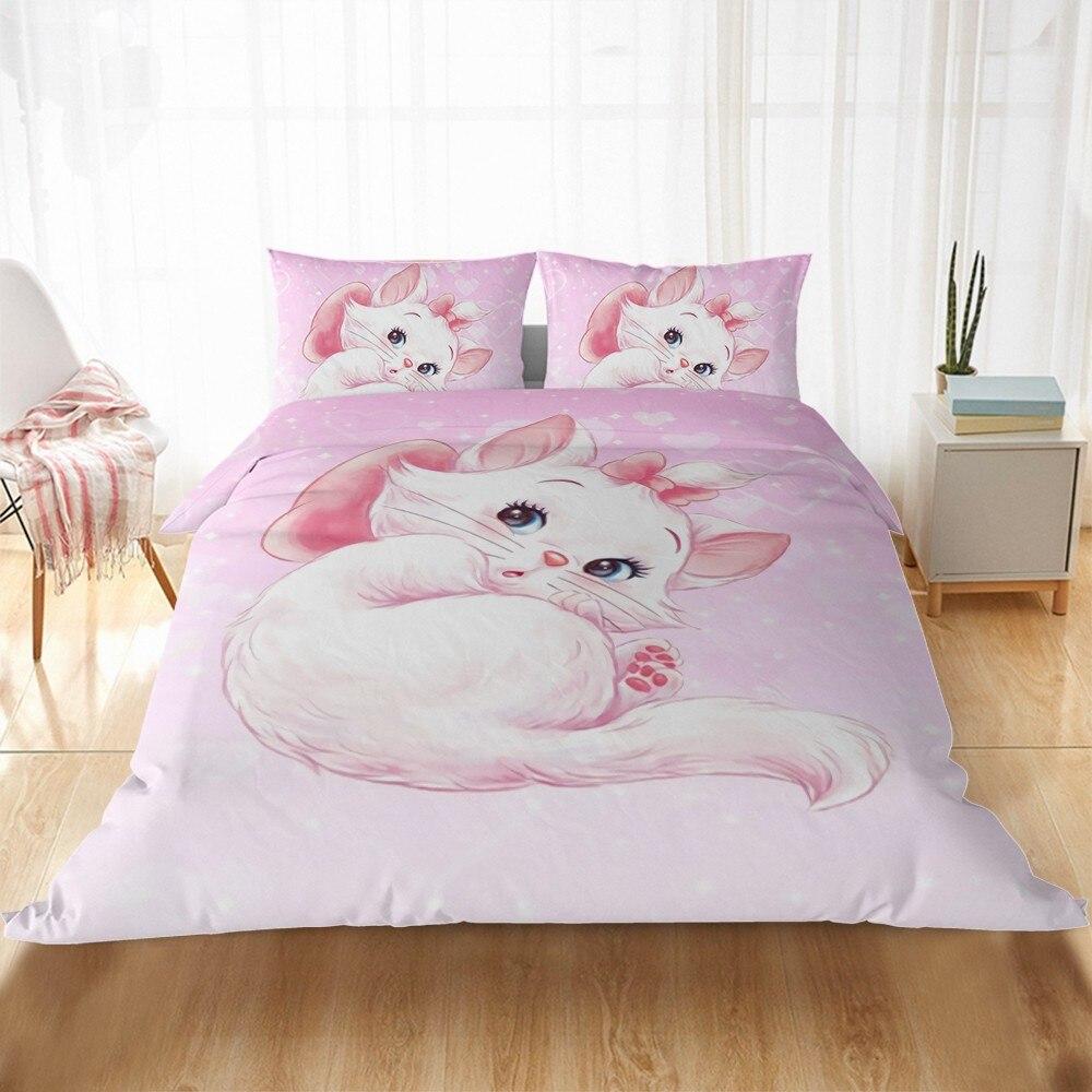 Disney Cute Marie Cat Cartoon Bedding Sets US AU EU Bed Linen Children Girls Duvet Cover Pillowcase Comforter Bedding Set