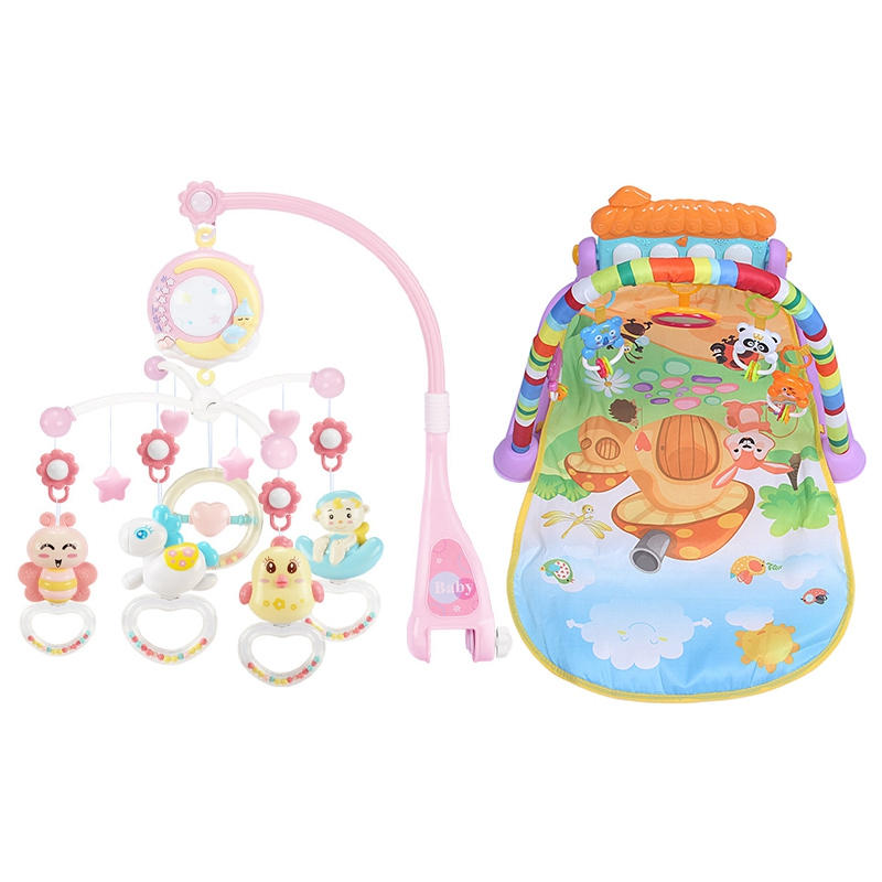 1Pcs Baby Rattles Crib Mobiles Toy Holder - Pink & 1Pcs Baby Activity Mats Early Development Activity Mat With Piano Keyboard In