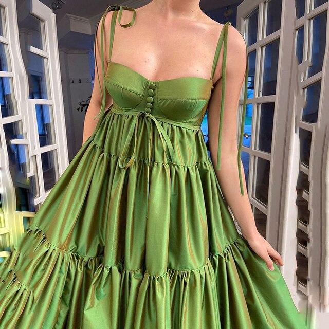 UZN New Arrival A-Line Green Satin Bustier Prom Dress Elegant Spagetti Straps Ruffles Evening Dress Plus Size Party Dress 2