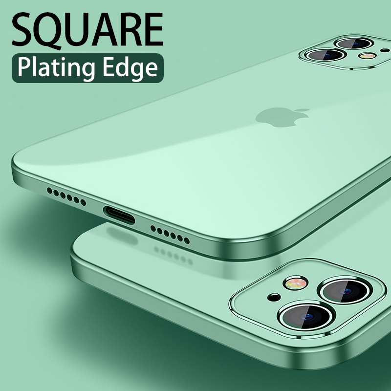 Luxury Plating Square frame Transparent Case For iPhone 11 Pro Max XS X 8 7 Plus SE 2020 Cases Slim Soft tpu Camera Protection|Fitted Cases|   - AliExpress