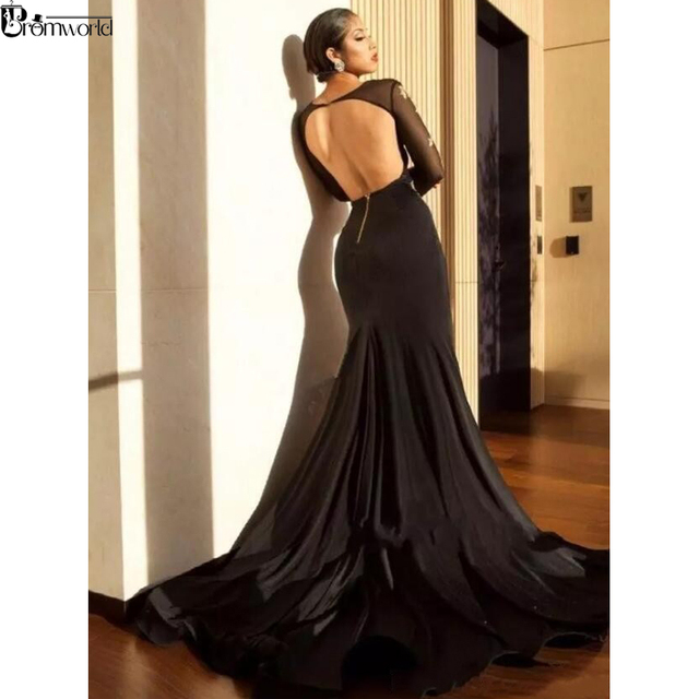Long Sleeves Mermaid Prom Dress Appliques Lace Party Gown Sexy Backless V-Neck High Slit Black Prom Dresses 2019 4