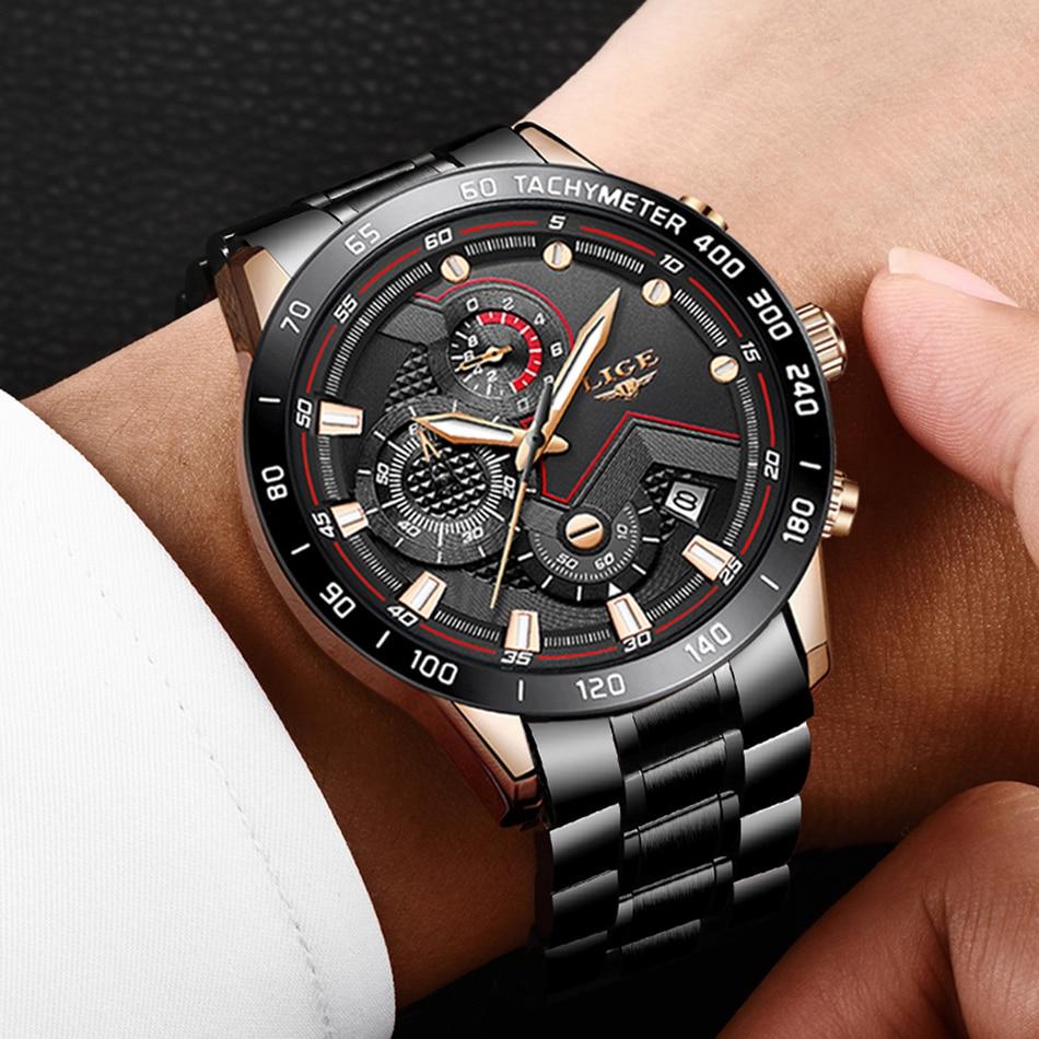 Hc3cb5399758647a7b67e18b9c6f707daY LIGE Men Watches Top Brand Luxury Stainless Steel Blue Waterproof Quartz Watch Men Fashion Chronograph Male Sport Military Watch