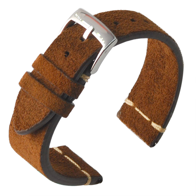 Brown Gray  Soft Suede Leather  Strap  Vintage Country 18mm 20mm Watch Strap  Watchbands