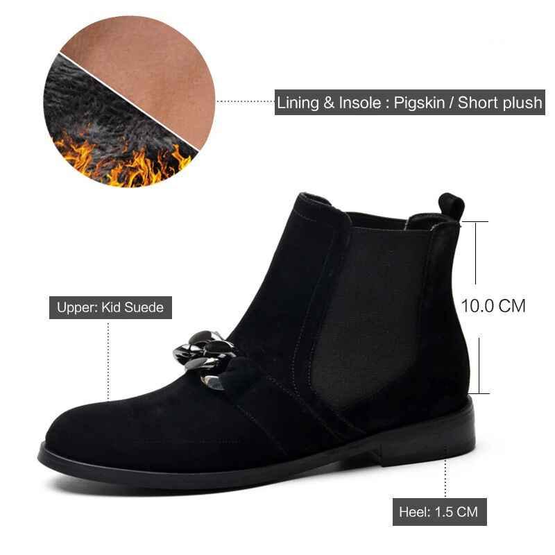 Donna-in Chelsea Patik Kadınlar Hakiki Deri yarım çizmeler Metal Zincirler Doğal Süet Düşük Topuklu Çizmeler Moda Bahar Bayan Ayakkabı