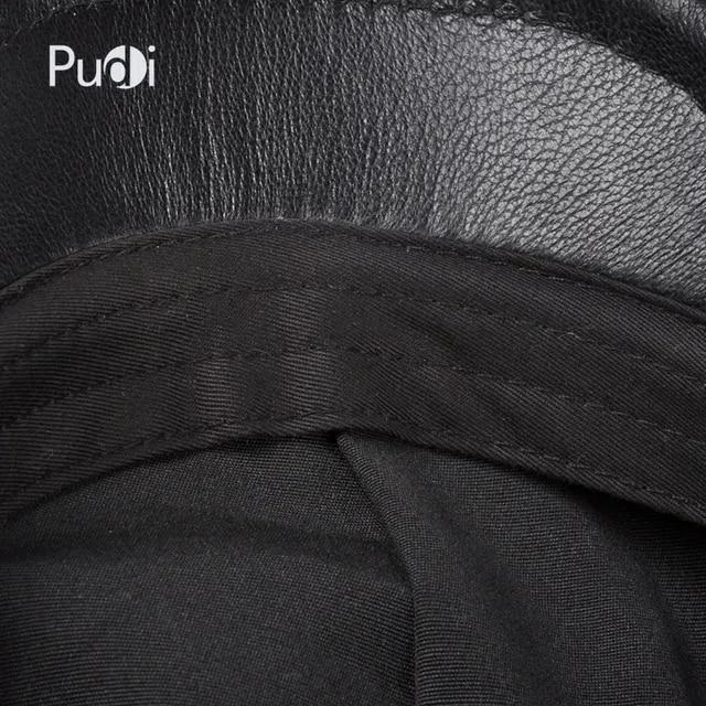 Pudi men's real leather baseball cap hat 2019 fashion new style soft leather beret belt trucker caps Crocodile Grain HL007
