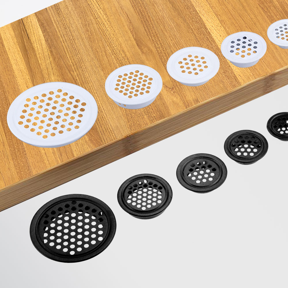 4pcs Wardrobe Cabinet Mesh Hole Black Air Vent Louver Ventilation Cover Stainless Steel Black color