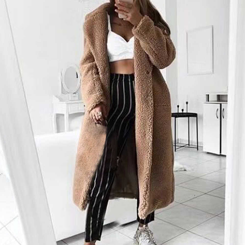 LITTHING 2020 Casual Loose Solid Long Teddy Coat Women Autumn Winter Faux Fur Jackets Fashion Soft Plush Thick Women Jacket Coat