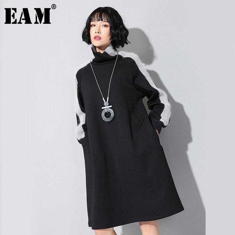 [EAM] Women Black Side Split Joint Temperament Dress New Turtleneck Long Sleeve Loose Fit Fashion Tide Spring Autumn 2020 JL232