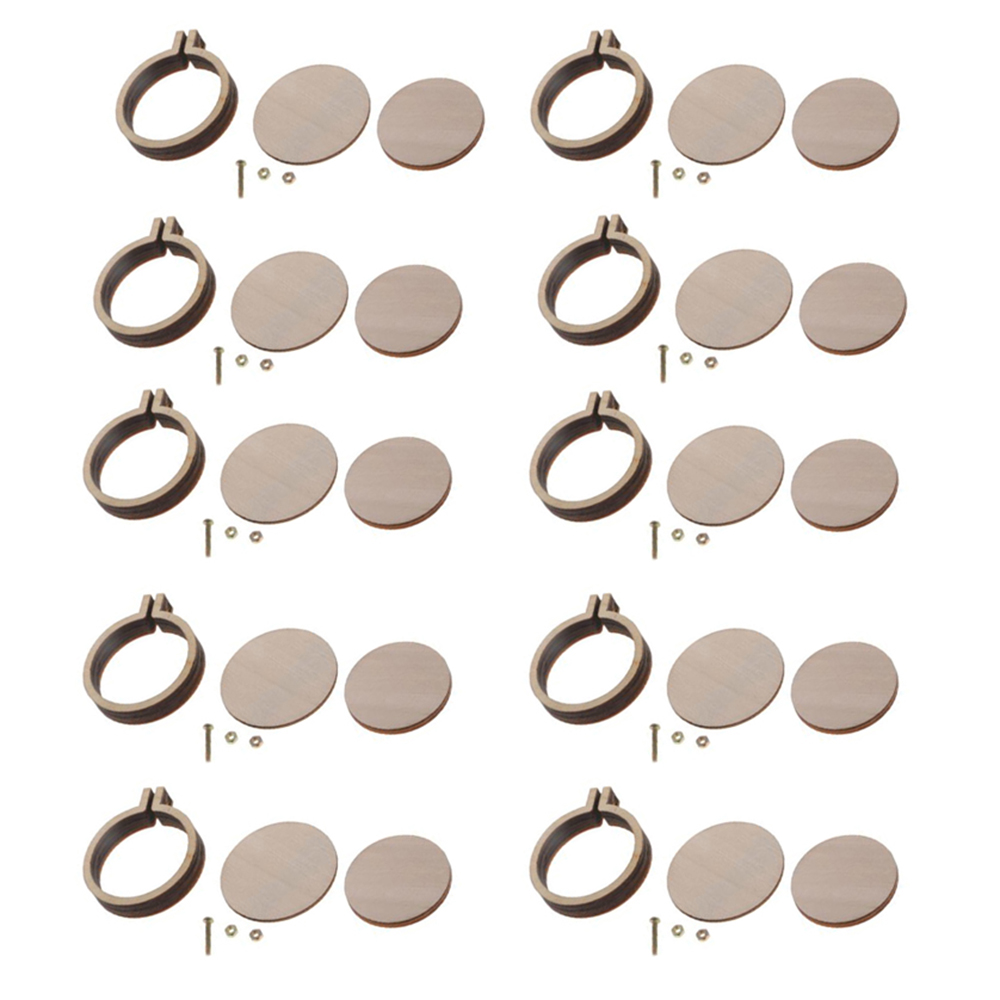 10 Sets DIY Mini Embroidery Hoop Ring Wooden Cross Stitch Frame Hand Crafts Tool