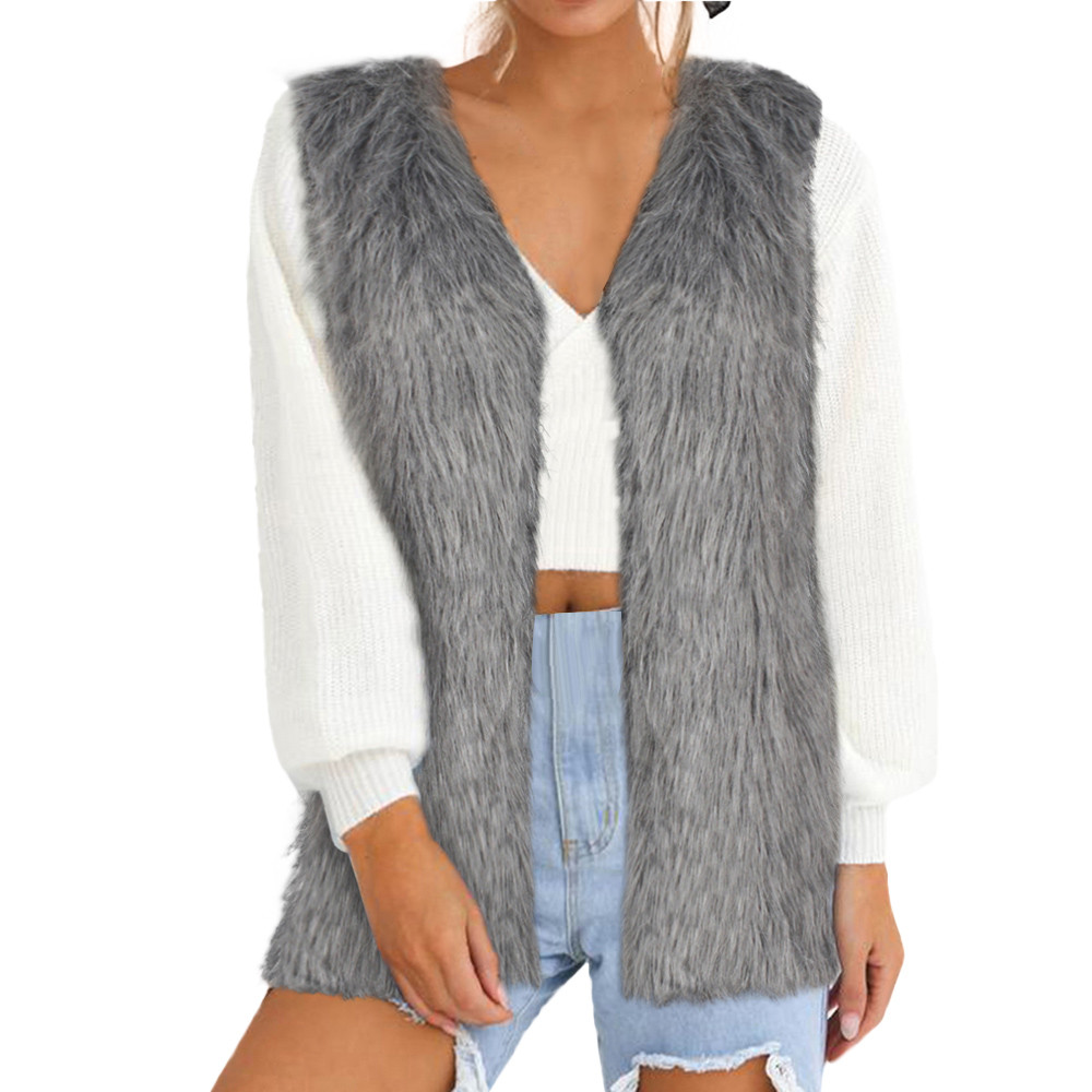 Jaycosin 2019 Winter Waistcoat Coat For Women Solid Faux Fur Vest Comfortable Sleeveless Body Warmer Jacket Coat Outwear 31#10