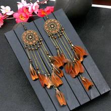 Женские винтажные леопардовые серьги подвески с перьями
