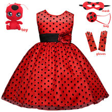 Costume de carnaval chat Noir Halloween Cosplay, robe de princesse pour fille, Tutu, pour fête de mariage, vêtements à pois rouges pour enfants, tendance 2021