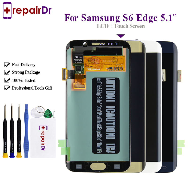 <font><b>Original</b></font> For <font><b>Samsung</b></font> Galaxy <font><b>S6</b></font> <font><b>Edge</b></font> LCD G925 G925F <font><b>Display</b></font> Touch Screen Digitizer Assembly with frame For <font><b>SAMSUNG</b></font> <font><b>S6</b></font> <font><b>Edge</b></font> LCD image