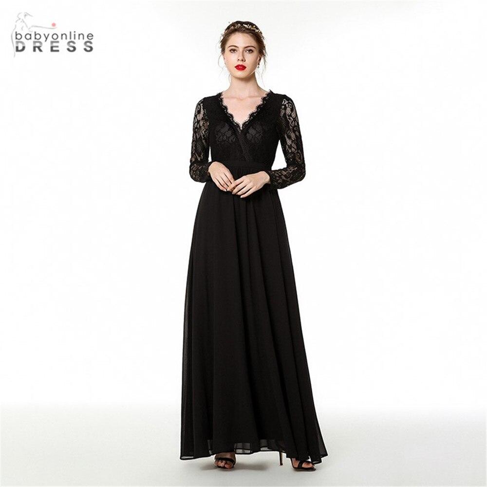 New Arrival Balck Lace Long Evening Dress V-neck Full Sleeves Female Fomal Evening Gown A-line Abendkleider Robe De Longo