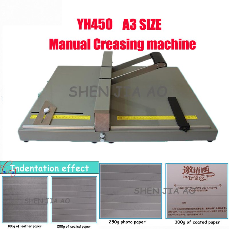 Manual paper Creasing machine A3 indentation machine paper folding machine photo greeting paper folding greeting cards YH450