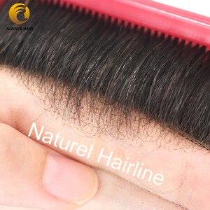 Image 2 - קו שיער בלתי נראה צרפתית תחרה שיער החלפת לגברים מולבן קשרים 6 אינץ משלוח סגנון תחרה פאה גברים שיער הודי שיער טבעי