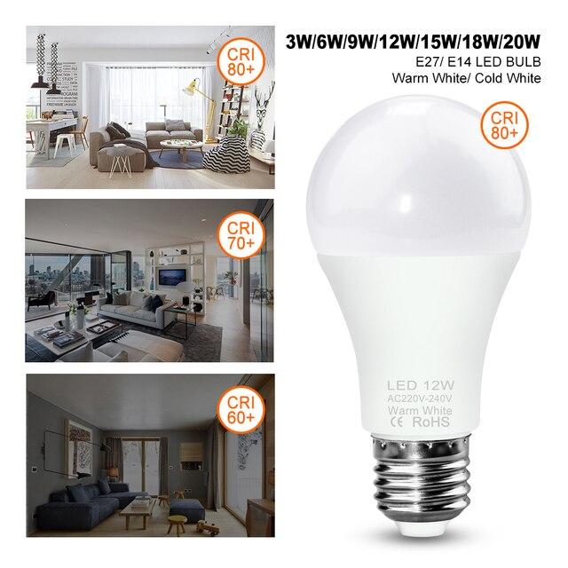 Bombillas 220V Led Lamp Bulb E27 Ampul Indoor Lighting Led E14 Bulbs Lamp High Bright Light 3W 6W 9W 12W 15W 18W 20W Led Light