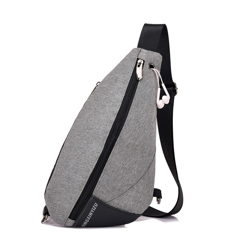 2018 New Style Triangular Water Droplet Casual Chest Pack Shoulder Bag Headphone Jack Travel Sports Riding Backpack