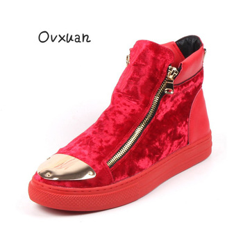 OVXUAN British Style Velvet Ankle Boots men Fashion Metal Plate High Top Luxury Brand Trend Shoes Red Hip Hop Sneakers Botas man