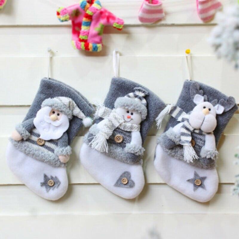 Christmas Stocking Mini Sock Santa Claus Candy Gift Bag Xmas Tree Snowman Hanging Decor Home Store Accosseries