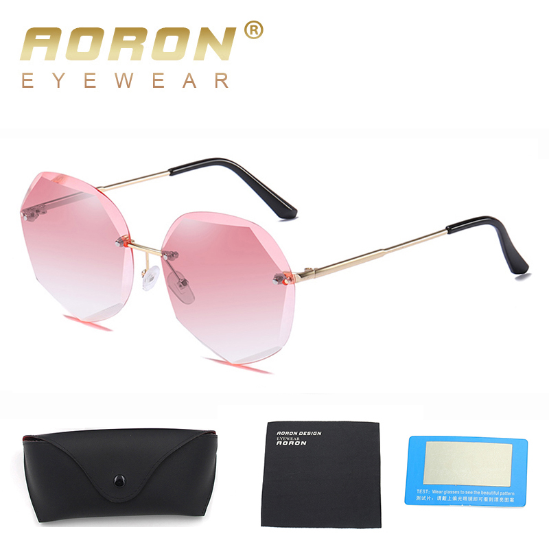 AORON New Ocean Sunglasses Trend Glasses UV Protection Glasses  Women Polygon Frameless Metal Sunglasses With Case
