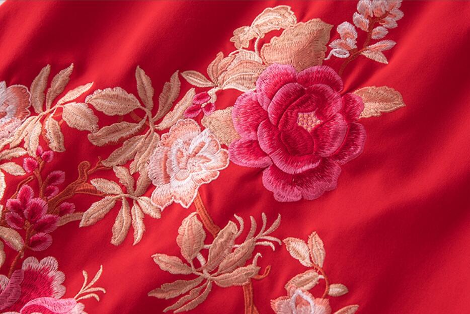 Vestido de algodón otoño estilo nacional bordado mariposa flor cuello redondo Retro suelto vestido de mujer de talla grande M 4XL - 5