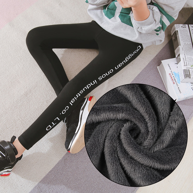 Girls Leggings 2019 Warm Trousers Cotton Fleece Lined Letter Leggings Winter Clothes For Children 8 10 12 14 Years Kids Clothing